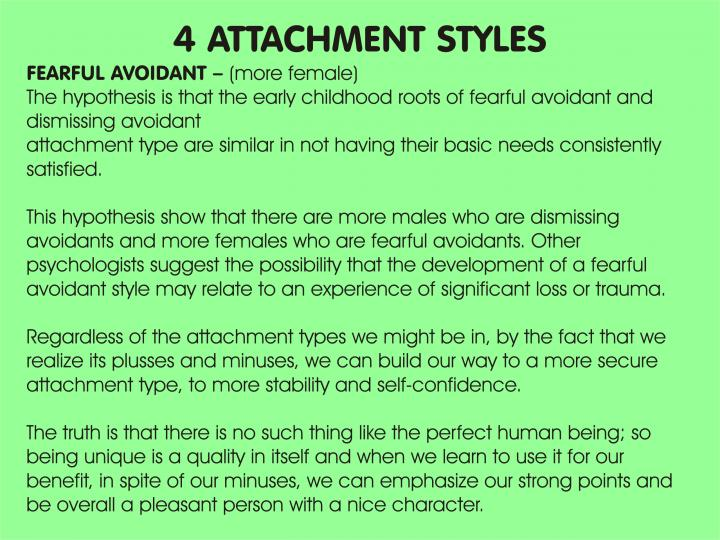 """the four different attachment styles Attachment theory"""" finds new resonance in the age of smartphones  indelible  template of how we think relationships work, based on how our parents or other  primary caregivers treat us  you have 4 free articles remaining."""